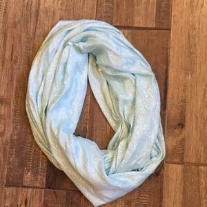 Viscose mint green and silver infinity scarf.